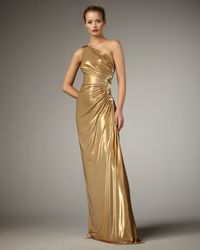 Robert Rodriguez | Metallic Heidi One-shoulder Gown, Gold | Lyst