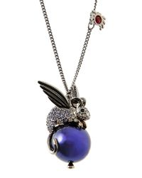 Swarovski - Metallic Silver Angel Mouse Passenger Pendant Necklace - Lyst