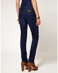 Wrangler | Blue High Waisted Skinny Jeans | Lyst