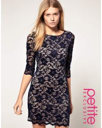 ASOS Collection | Blue Asos Petite Exclusive Slash Neck Lace Dress with Contrast Lining | Lyst
