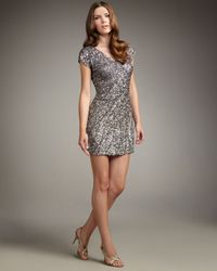 Aidan Mattox | Metallic Cap-sleeve Beaded Dress | Lyst
