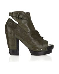 Alexander Wang - Green Claudia Cutout Leather Ankle Boots - Lyst