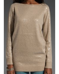 Alice + Olivia | Beige Allover Sequin Sweater | Lyst