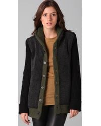 Charlotte Ronson Black Reversible Sweater Coat with Sherpa Trim