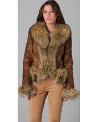 Dallin Chase Brown Amadeus Shearling Jacket with Fur Trim