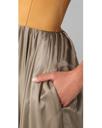Derek Lam - Green Halter Gown with Leather Bodice - Lyst