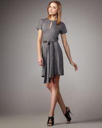 Halston | Gray Melange Tie-waist Dress | Lyst