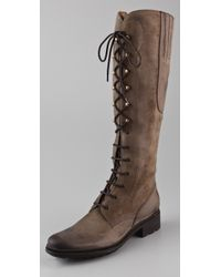 HUNTER Brown Deacon Lace Up Flat Boots