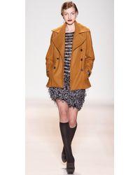 Lela Rose Black Feather Miniskirt