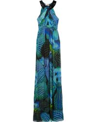 Matthew Williamson | Blue Lotus-print Silk-chiffon Maxi Dress | Lyst