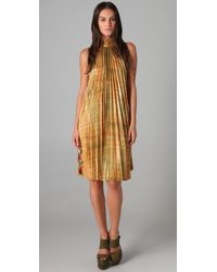 SUNO | Yellow Pleated Trapeze Dress | Lyst