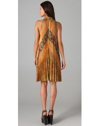 SUNO - Yellow Pleated Trapeze Dress - Lyst