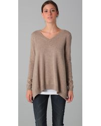 Vince | Natural Uneven V-neck Sweater | Lyst