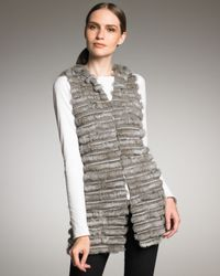 Alice + Olivia | Gray Hooded Fur Vest | Lyst