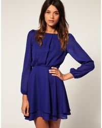 ASOS Collection - Blue Asos Petite Workwear Double Skirt Dress - Lyst