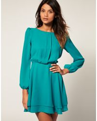 ASOS Collection Green Asos Mini Dress with Double Layer Skirt
