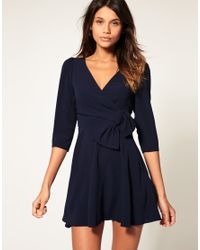 ASOS Collection Blue Asos Wrap Dress with Bow Detail