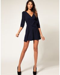 ASOS Collection Pink Asos Wrap Dress with Bow Detail