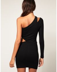 ASOS Collection Purple Asos Bodycon Dress with One Sleeve