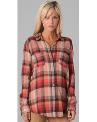 Free People | Brown Plaid Road Trip Button Down | Lyst