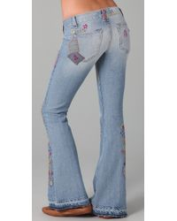 Textile Elizabeth and James Blue Embroidered Jimi Flare Jeans