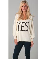 Wildfox | White Yes Nevada Baggy Beach Sweatshirt | Lyst