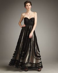 Alberto Makali Black Ruffle-trimmed Strapless Ball Gown
