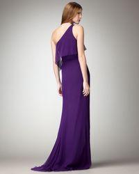 Badgley Mischka | Purple One-shoulder Draped Gown | Lyst