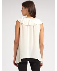 BCBGMAXAZRIA White Drea Silk Ruffle-neck Top