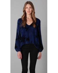 Blu Moon | V Neck Bell Sleeve Blouse in Blue Tie Dye | Lyst