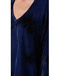 Blu Moon V Neck Bell Sleeve Blouse in Blue Tie Dye