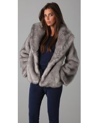 Halston | Metallic Faux Fur Coat | Lyst