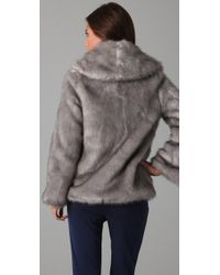 Halston   Metallic Faux Fur Coat   Lyst