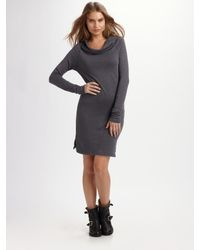James Perse | Gray Funnel Neck Sweater Dress | Lyst