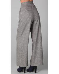 Porter Grey | Gray Wide Leg Tweed Trousers | Lyst