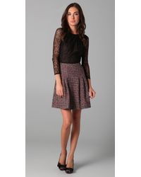 RED Valentino Red Lace & Tweed Combo Dress