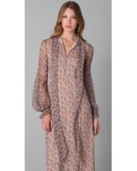 RED Valentino Brown Long Sleeve Floral Maxi Dress