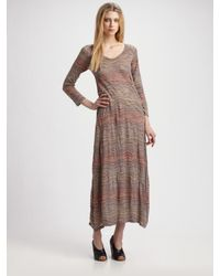 Surface To Air Brown Squamosal Striped Jersey Maxi Dress
