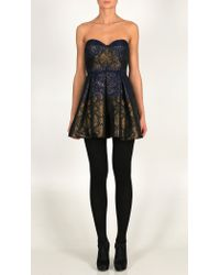 Tibi Blue Vasily Jacquard Strapless Dress