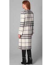 Adam Lippes White Long Plaid Coat
