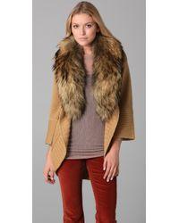 Alice + Olivia Natural Astrid Fur Shawl Collar Cardigan Coat in Camel