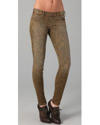 Current/Elliott | Gray Boa Print Ankle Skinny Jeans | Lyst