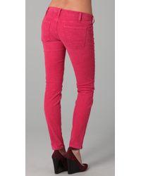 Current/Elliott Pink The Ankle Corduroy Skinny Pants