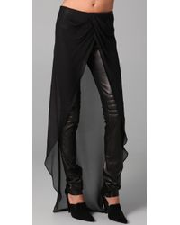 Kevork Kiledjian | Black Leather Pants with Chiffon Overlay | Lyst
