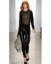 Kevork Kiledjian - Black Leather Pants with Chiffon Overlay - Lyst