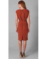 Rachel Roy   Orange Sleeveless Dress with Leather Yoke   Lyst