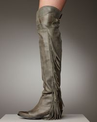 Ash | Gray Leather Fringe Boot | Lyst