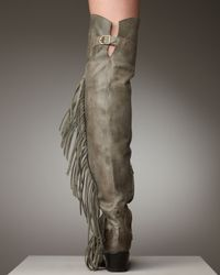 Ash Gray Leather Fringe Boot