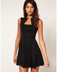 ASOS Collection - Black Asos Fit and Flare Dress with Square Neck - Lyst