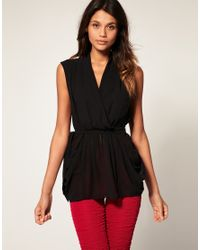 ASOS Collection - Black Asos Sexy Belted Wrap Top - Lyst
